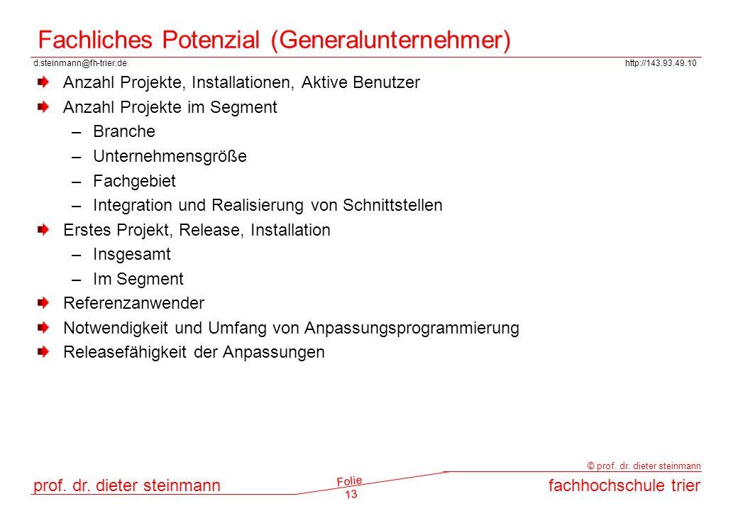 d.steinmann@fh-trier.dehttp://143.93.49.10 prof. dr. dieter steinmannfachhochschule trier © prof. dr. dieter steinmann Folie 13 Fachliches Potenzial (