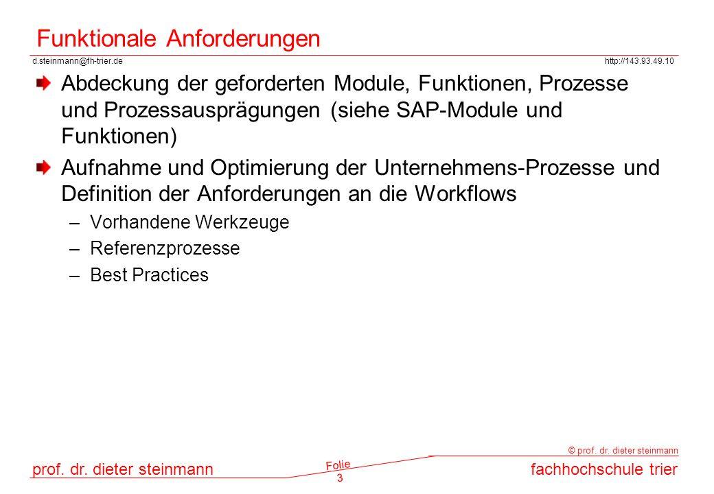 d.steinmann@fh-trier.dehttp://143.93.49.10 prof. dr. dieter steinmannfachhochschule trier © prof. dr. dieter steinmann Folie 3 Funktionale Anforderung