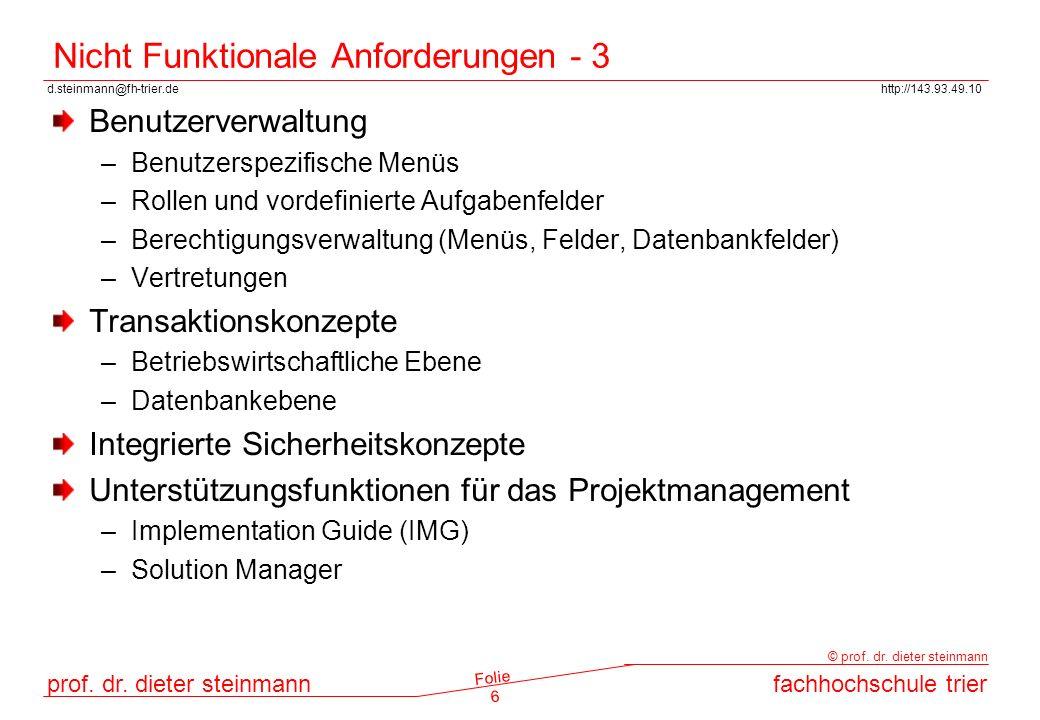 d.steinmann@fh-trier.dehttp://143.93.49.10 prof. dr. dieter steinmannfachhochschule trier © prof. dr. dieter steinmann Folie 6 Nicht Funktionale Anfor