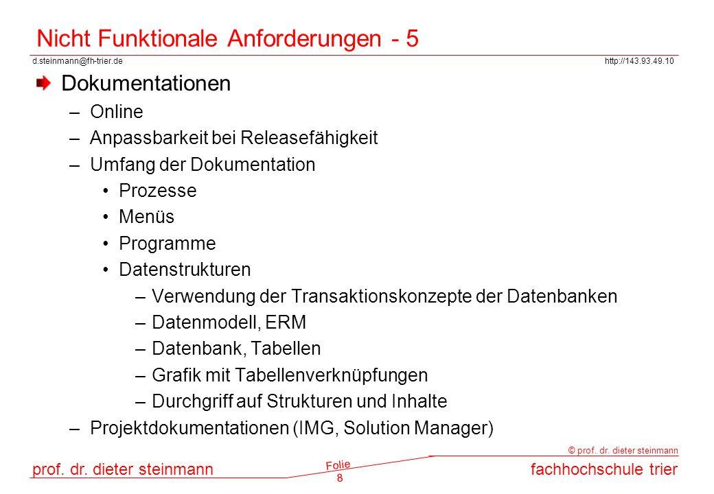 d.steinmann@fh-trier.dehttp://143.93.49.10 prof. dr. dieter steinmannfachhochschule trier © prof. dr. dieter steinmann Folie 8 Nicht Funktionale Anfor