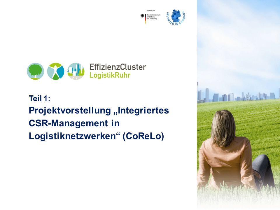 EffizienzCluster LogistikRuhr (ECLR) Über 130 Akteure: – 11 Hochschulen und Forschungseinrichtungen – Wirtschaftsförderungen, IHKs, Verbände im Ruhrgebiet, Institute – 120 Unternehmen, Großunternehmen, mehr als 50 KMU – Technologieentwickler und Dienstleister aus den Bereichen Logistik und IT 80 Mio.