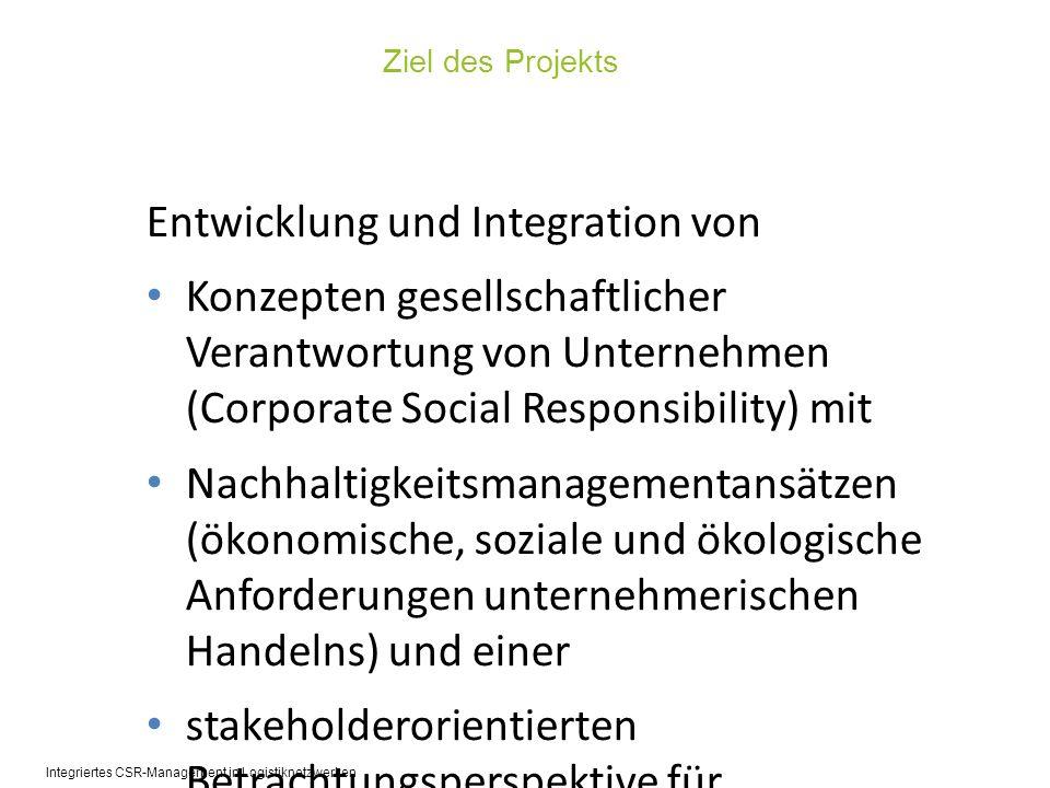 Wissenschaftspartner Unternehmenspartner A1: Bestandsanalyse A2: Wirkungsdiagnose B1: Strategieentwicklung B2: Programmentwicklung C1: Dialog C2: Transfer Inhaltlicher Fokus des Projekts Projektlaufzeit: 01.10.2010 – 30.09.2013 Projektvolumen: 2,1 Mio.