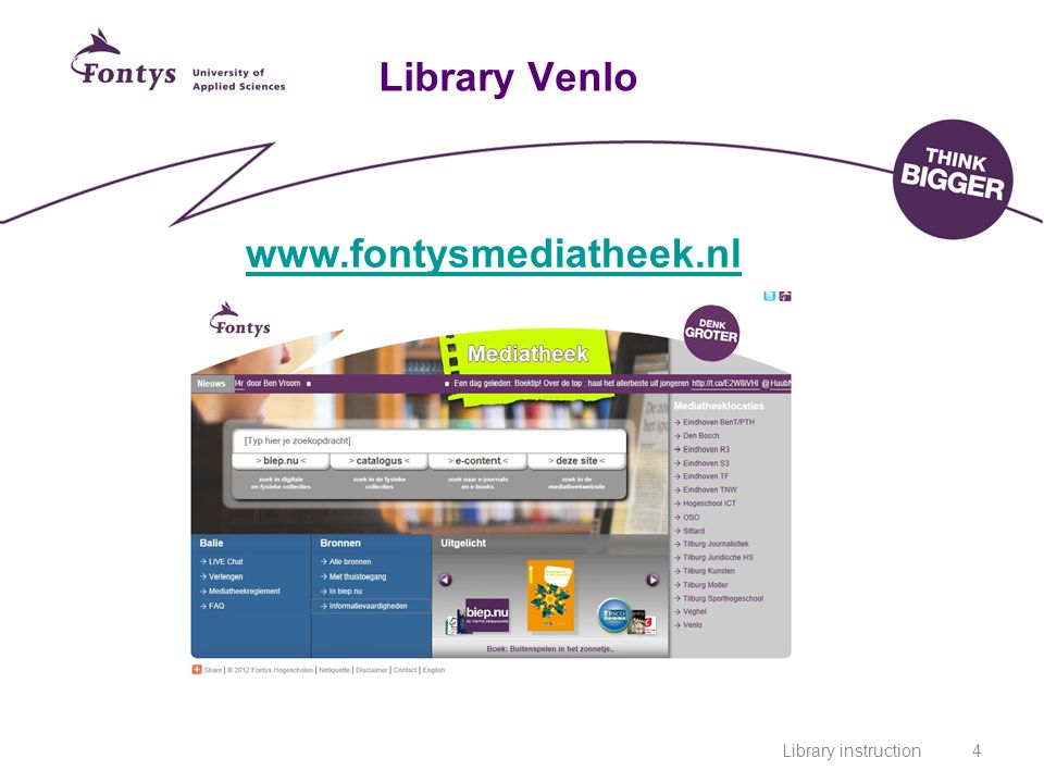 Library instruction4 Library Venlo www.fontysmediatheek.nl