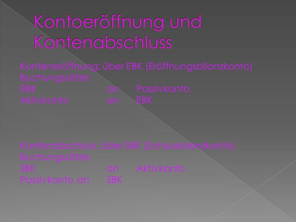 Konteneröffnung: über EBK (Eröffnungsbilanzkonto) Buchungssätze: EBKanPassivkonto Aktivkontoan EBK Kontenabschluss: über SBK (Schlussbilanzkonto) Buch