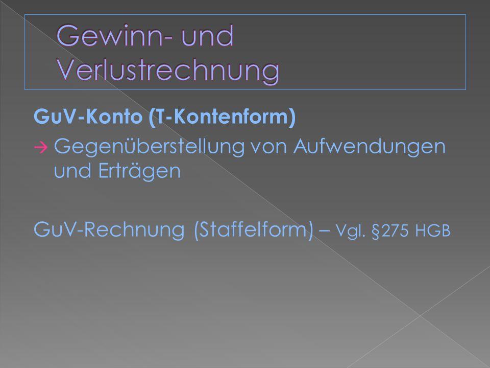 GuV-Konto (T-Kontenform) Gegenüberstellung von Aufwendungen und Erträgen GuV-Rechnung (Staffelform) – Vgl. §275 HGB