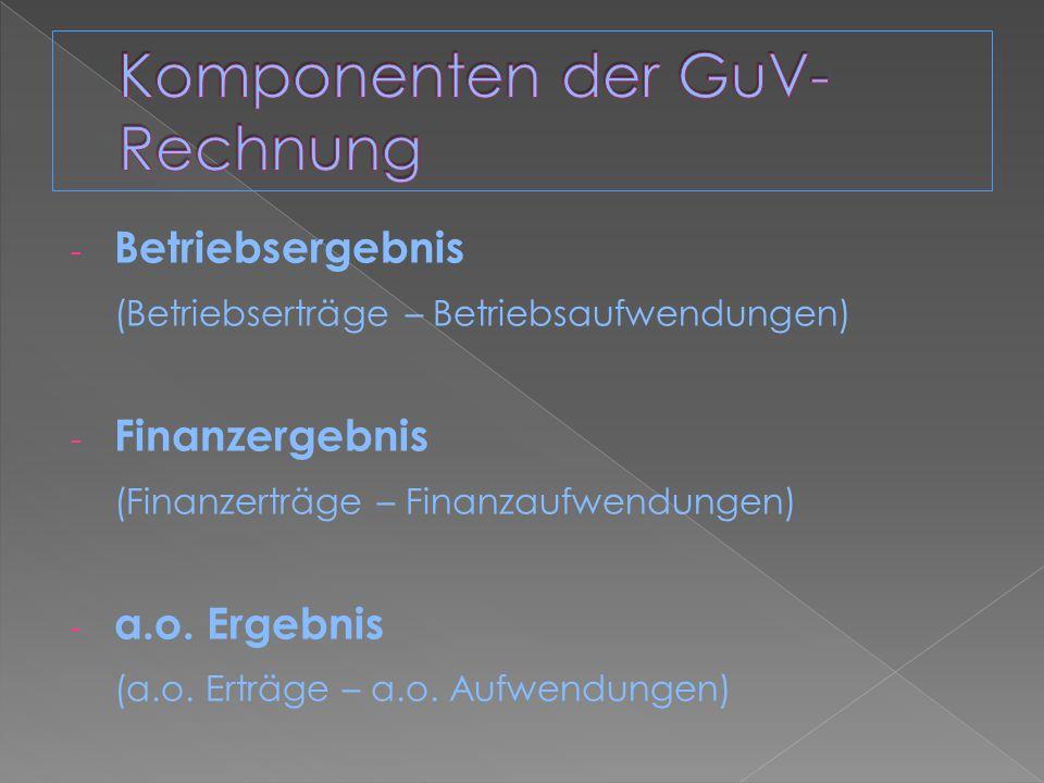 - Betriebsergebnis (Betriebserträge – Betriebsaufwendungen) - Finanzergebnis (Finanzerträge – Finanzaufwendungen) - a.o. Ergebnis (a.o. Erträge – a.o.