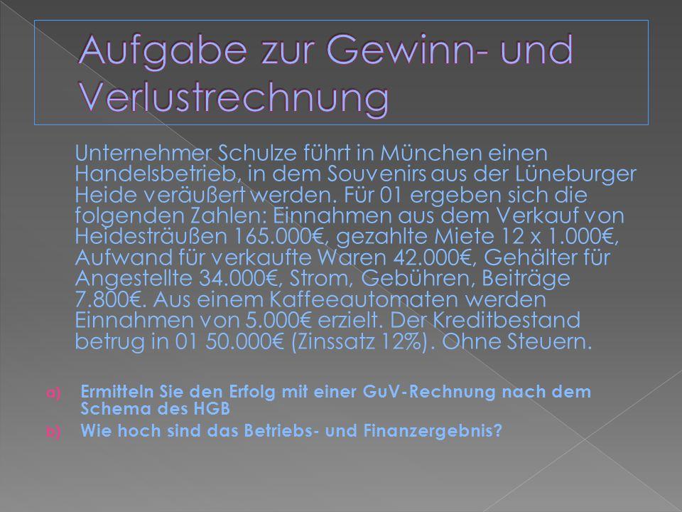Unternehmer Schulze führt in München einen Handelsbetrieb, in dem Souvenirs aus der Lüneburger Heide veräußert werden. Für 01 ergeben sich die folgend
