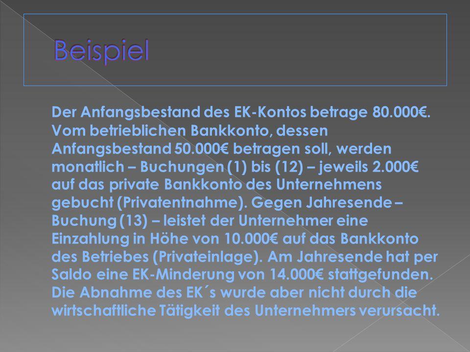 Der Anfangsbestand des EK-Kontos betrage 80.000. Vom betrieblichen Bankkonto, dessen Anfangsbestand 50.000 betragen soll, werden monatlich – Buchungen