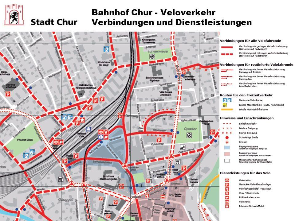 Bahnhof Chur - Veloverkehr Verbindungen und Dienstleistungen