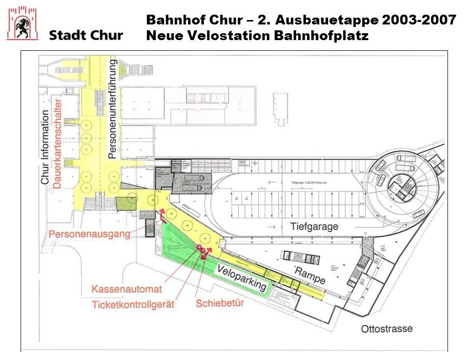 Bahnhof Chur – 2. Ausbauetappe 2003-2007 Neue Velostation Bahnhofplatz
