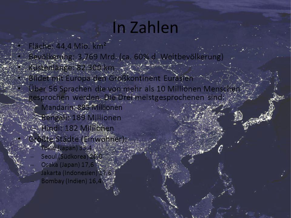 In Zahlen Fläche: 44,4 Mio. km² Bevölkerung: 3,769 Mrd. (ca. 60% d. Weltbevölkerung) Küstenlänge: 82.300 km Bildet mit Europa den Großkontinent Eurasi