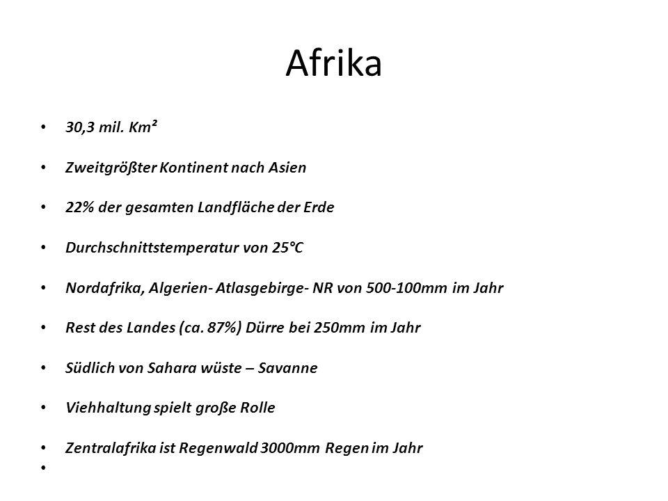 Afrika 30,3 mil. Km² Zweitgrößter Kontinent nach Asien 22% der gesamten Landfläche der Erde Durchschnittstemperatur von 25°C Nordafrika, Algerien- Atl