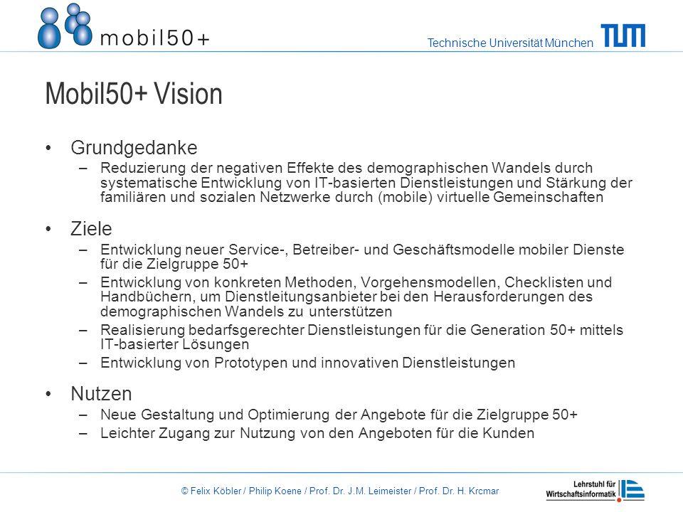 Technische Universität München © Felix Köbler / Philip Koene / Prof. Dr. J.M. Leimeister / Prof. Dr. H. Krcmar Mobil50+ Vision Grundgedanke –Reduzieru