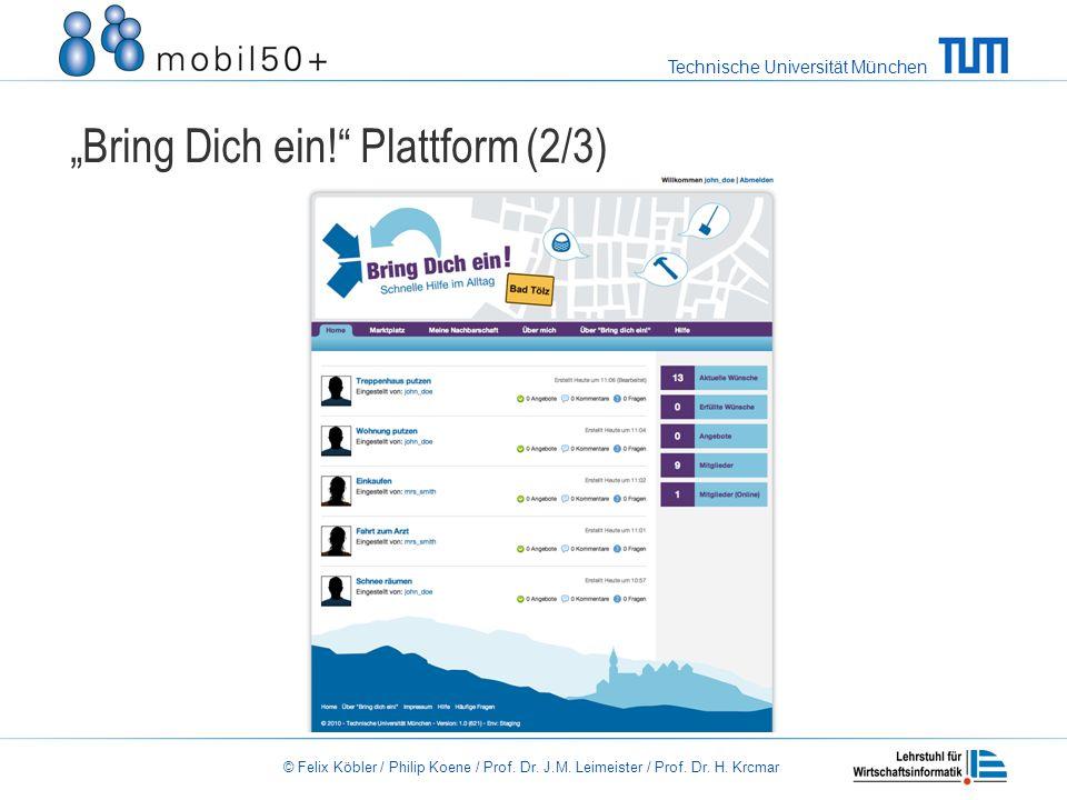 Technische Universität München © Felix Köbler / Philip Koene / Prof. Dr. J.M. Leimeister / Prof. Dr. H. Krcmar Bring Dich ein! Plattform (2/3)