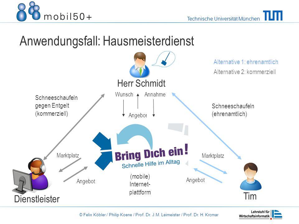 Technische Universität München © Felix Köbler / Philip Koene / Prof. Dr. J.M. Leimeister / Prof. Dr. H. Krcmar Anwendungsfall: Hausmeisterdienst Herr