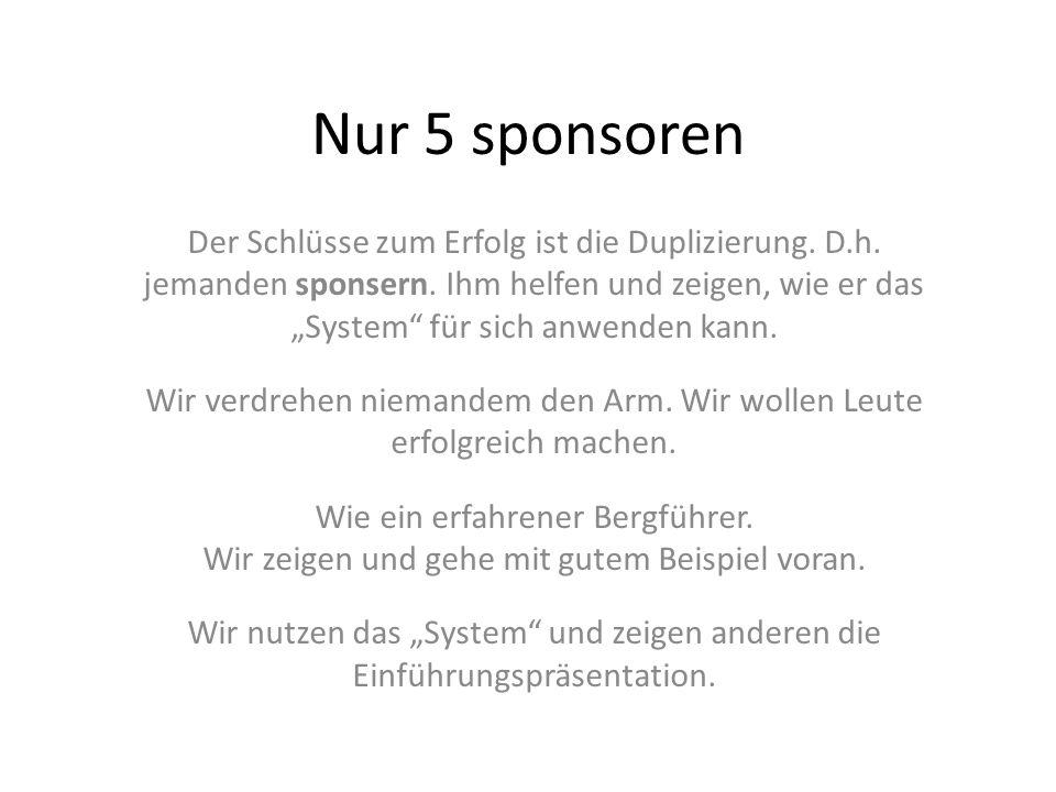 Nur 5 sponsoren Der Schlüsse zum Erfolg ist die Duplizierung. D.h. jemanden sponsern. Ihm helfen und zeigen, wie er das System für sich anwenden kann.