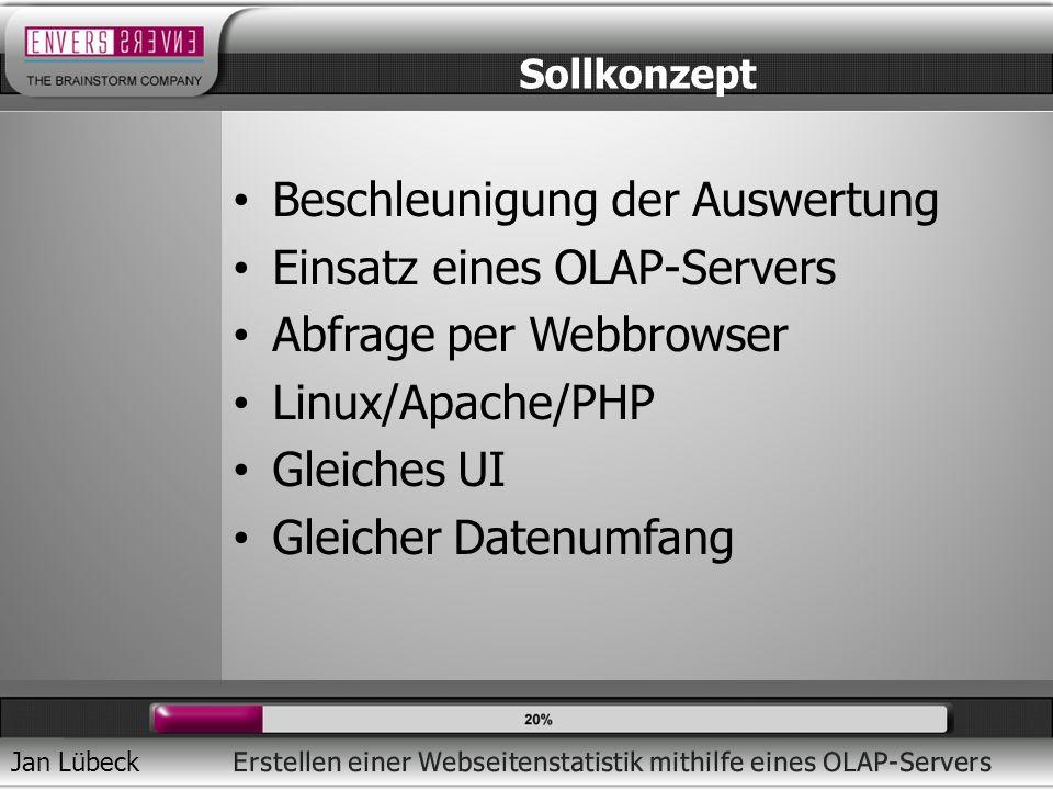 Jan Lübeck Beschleunigung der Auswertung Einsatz eines OLAP-Servers Abfrage per Webbrowser Linux/Apache/PHP Gleiches UI Gleicher Datenumfang Sollkonzept