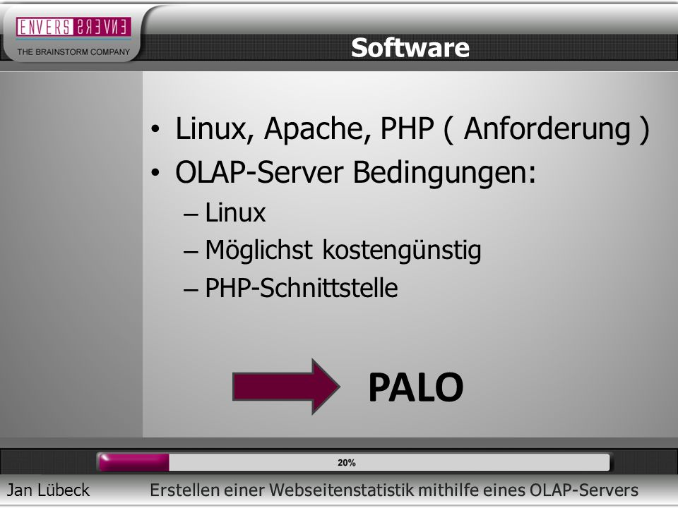 Jan Lübeck Linux, Apache, PHP ( Anforderung ) OLAP-Server Bedingungen: – Linux – Möglichst kostengünstig – PHP-Schnittstelle Software PALO