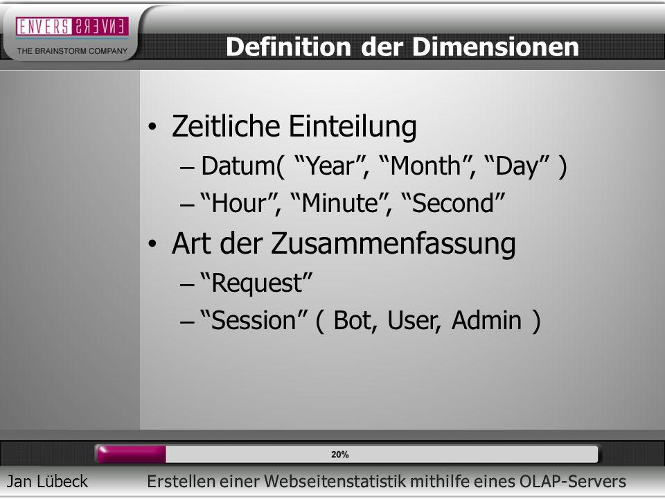 Jan Lübeck Zeitliche Einteilung – Datum( Year, Month, Day ) – Hour, Minute, Second Art der Zusammenfassung – Request – Session ( Bot, User, Admin ) Definition der Dimensionen