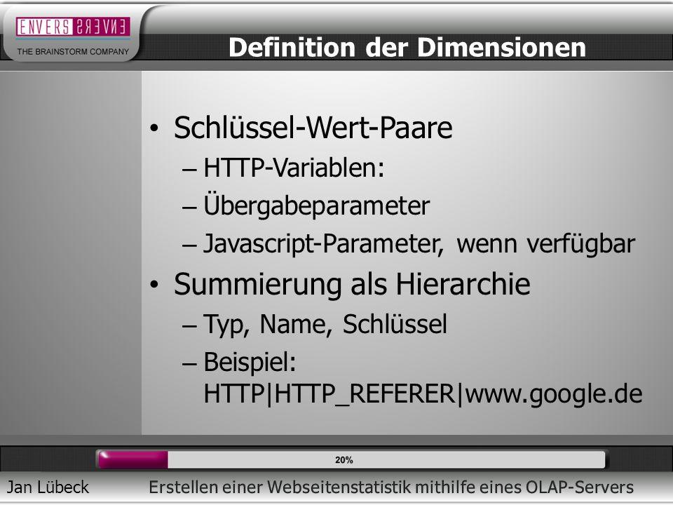 Jan Lübeck Schlüssel-Wert-Paare – HTTP-Variablen: – Übergabeparameter – Javascript-Parameter, wenn verfügbar Summierung als Hierarchie – Typ, Name, Schlüssel – Beispiel: HTTP|HTTP_REFERER|www.google.de Definition der Dimensionen