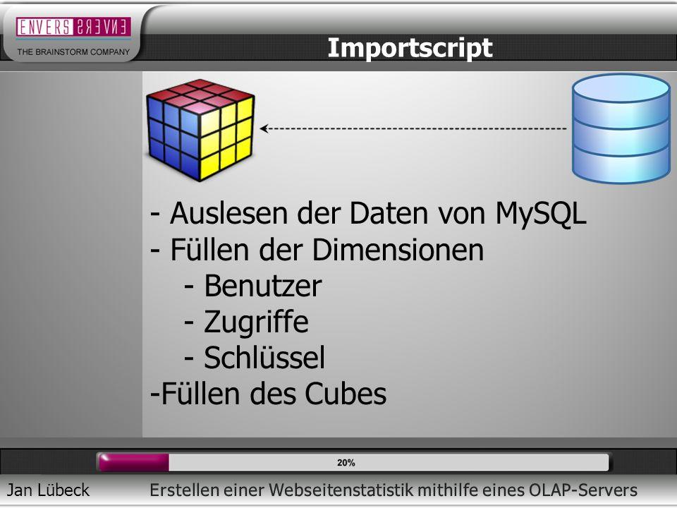 Jan Lübeck Importscript - Auslesen der Daten von MySQL - Füllen der Dimensionen - Benutzer - Zugriffe - Schlüssel -Füllen des Cubes