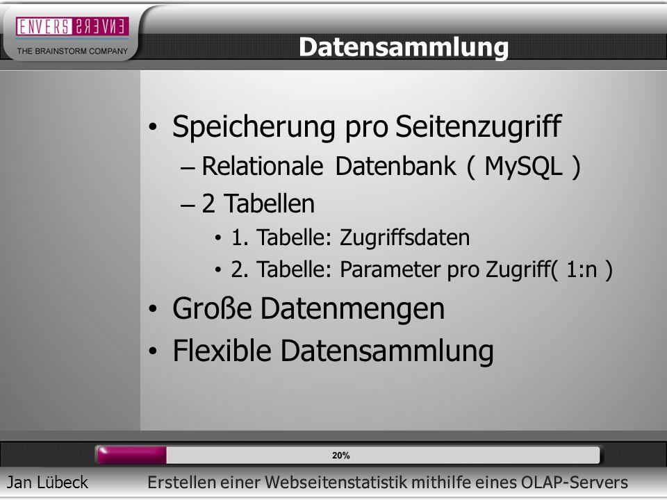 Jan Lübeck Speicherung pro Seitenzugriff – Relationale Datenbank ( MySQL ) – 2 Tabellen 1.