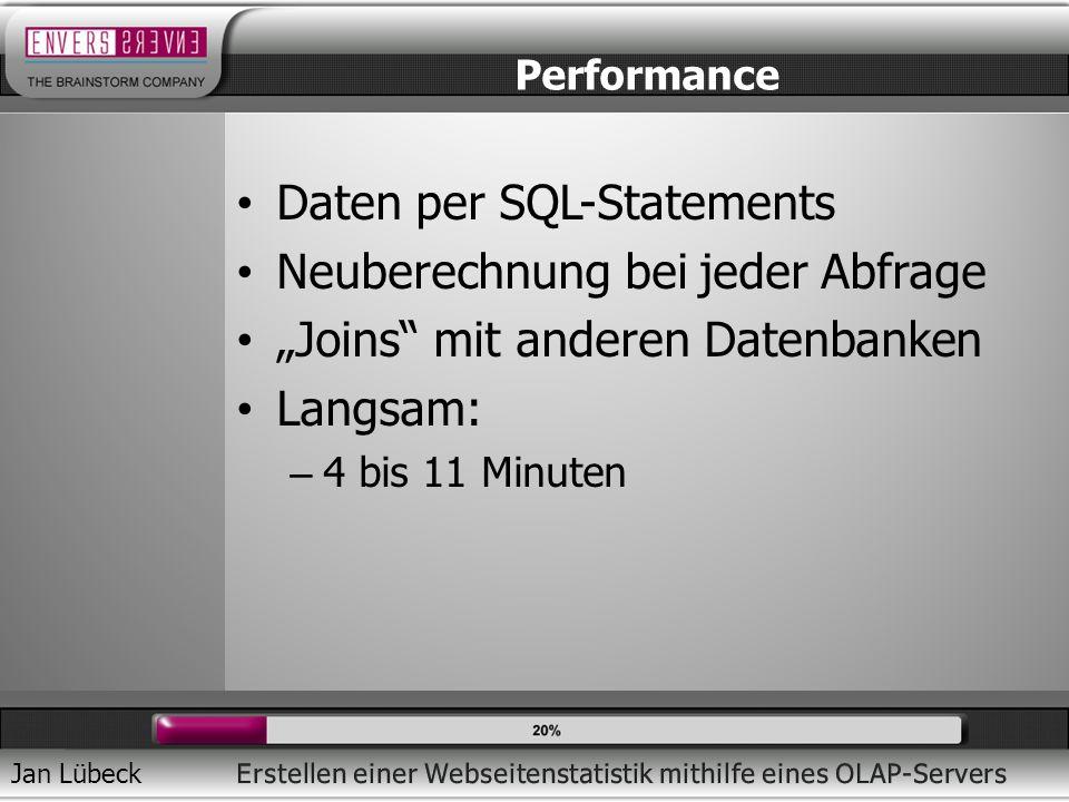 Jan Lübeck Daten per SQL-Statements Neuberechnung bei jeder Abfrage Joins mit anderen Datenbanken Langsam: – 4 bis 11 Minuten Performance