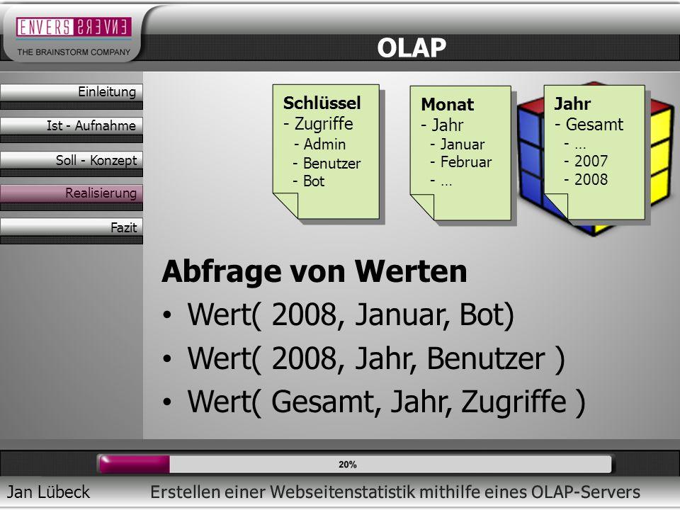 Jan Lübeck Abfrage von Werten Wert( 2008, Januar, Bot) Wert( 2008, Jahr, Benutzer ) Wert( Gesamt, Jahr, Zugriffe ) OLAP Monat - Jahr - Januar - Februa