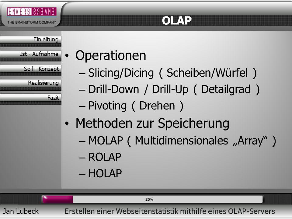 Jan Lübeck Operationen – Slicing/Dicing ( Scheiben/Würfel ) – Drill-Down / Drill-Up ( Detailgrad ) – Pivoting ( Drehen ) Methoden zur Speicherung – MO