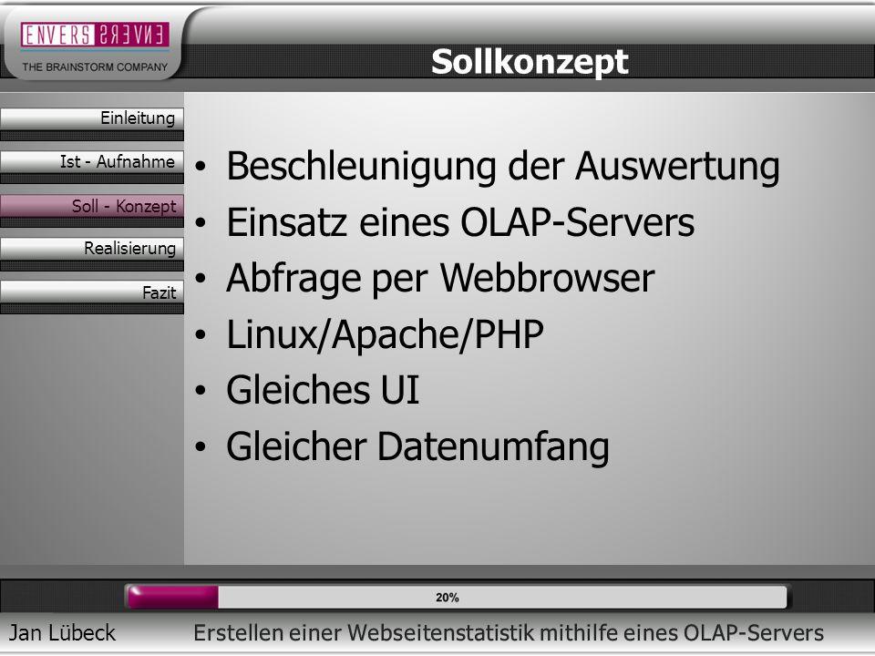Jan Lübeck Beschleunigung der Auswertung Einsatz eines OLAP-Servers Abfrage per Webbrowser Linux/Apache/PHP Gleiches UI Gleicher Datenumfang Sollkonze