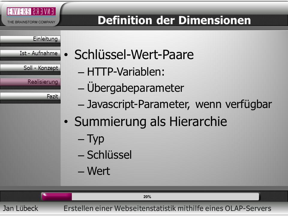 Jan Lübeck Schlüssel-Wert-Paare – HTTP-Variablen: – Übergabeparameter – Javascript-Parameter, wenn verfügbar Summierung als Hierarchie – Typ – Schlüss