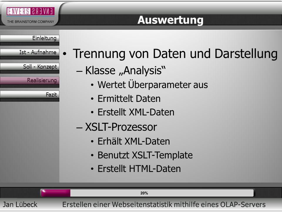 Jan Lübeck Trennung von Daten und Darstellung – Klasse Analysis Wertet Überparameter aus Ermittelt Daten Erstellt XML-Daten – XSLT-Prozessor Erhält XM