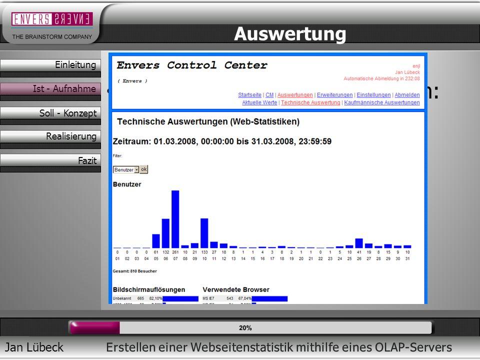 Jan Lübeck Anzeige pro Zeiteinheit/Zeitraum: – Benutzerzahlen – Seitenaufrufe – Referer – Javascript – Bildschirmauflösung Auswertung