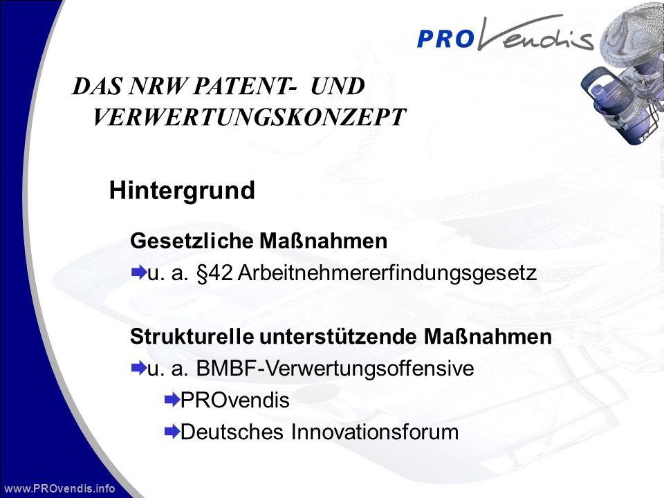 www.PROvendis.info Hintergrund DAS NRW PATENT- UND VERWERTUNGSKONZEPT Gesetzliche Maßnahmen u. a. §42 Arbeitnehmererfindungsgesetz Strukturelle unters