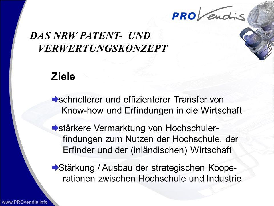 www.PROvendis.info Ziele schnellerer und effizienterer Transfer von Know-how und Erfindungen in die Wirtschaft stärkere Vermarktung von Hochschuler- f