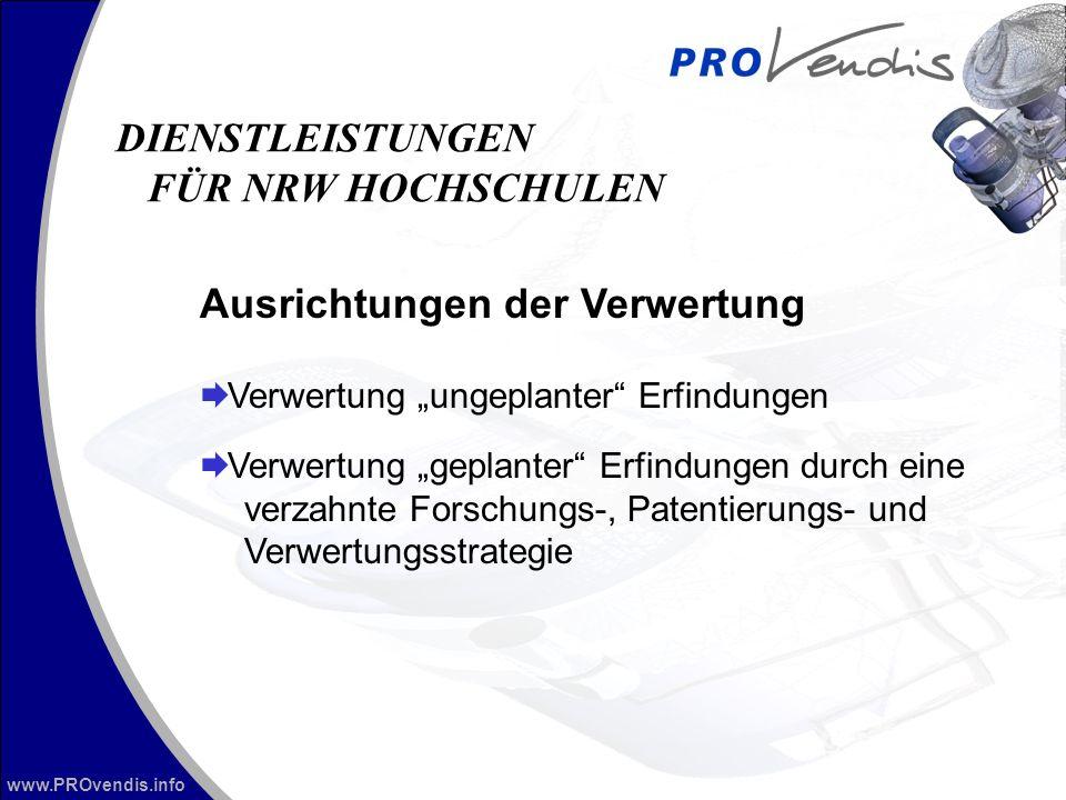 www.PROvendis.info Ausrichtungen der Verwertung Verwertung ungeplanter Erfindungen Verwertung geplanter Erfindungen durch eine verzahnte Forschungs-, Patentierungs- und Verwertungsstrategie DIENSTLEISTUNGEN FÜR NRW HOCHSCHULEN