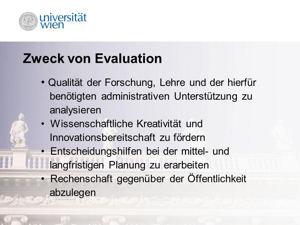 Zweck von Evaluation Qualität der Forschung, Lehre und der hierfür benötigten administrativen Unterstützung zu analysieren Wissenschaftliche Kreativität und Innovationsbereitschaft zu fördern Entscheidungshilfen bei der mittel- und langfristigen Planung zu erarbeiten Rechenschaft gegenüber der Öffentlichkeit abzulegen