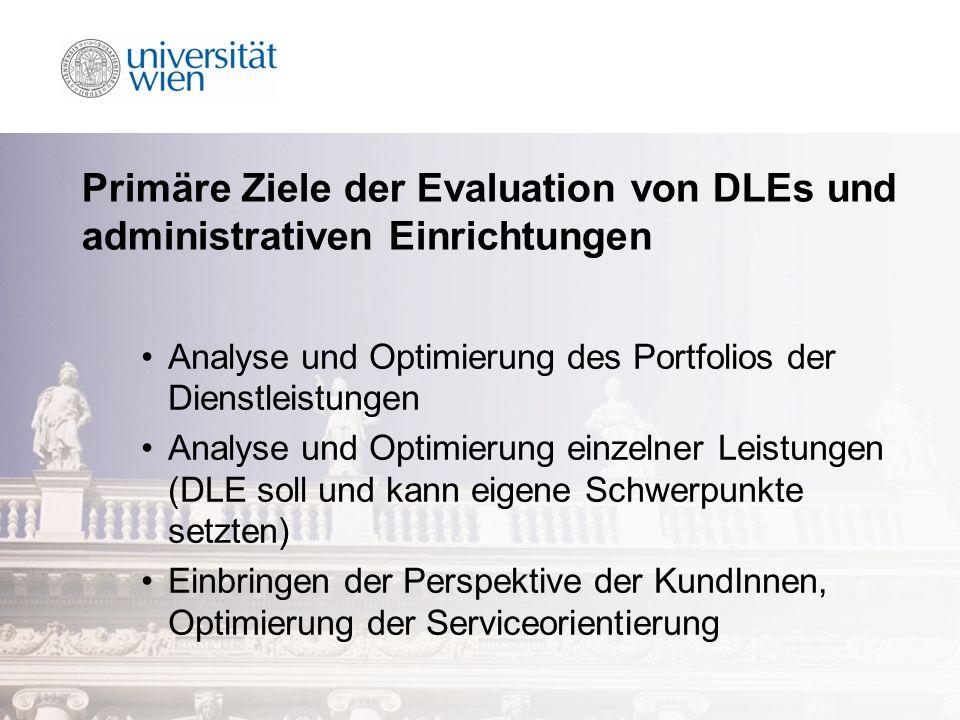 Primäre Ziele der Evaluation von DLEs und administrativen Einrichtungen Analyse und Optimierung des Portfolios der Dienstleistungen Analyse und Optimierung einzelner Leistungen (DLE soll und kann eigene Schwerpunkte setzten) Einbringen der Perspektive der KundInnen, Optimierung der Serviceorientierung