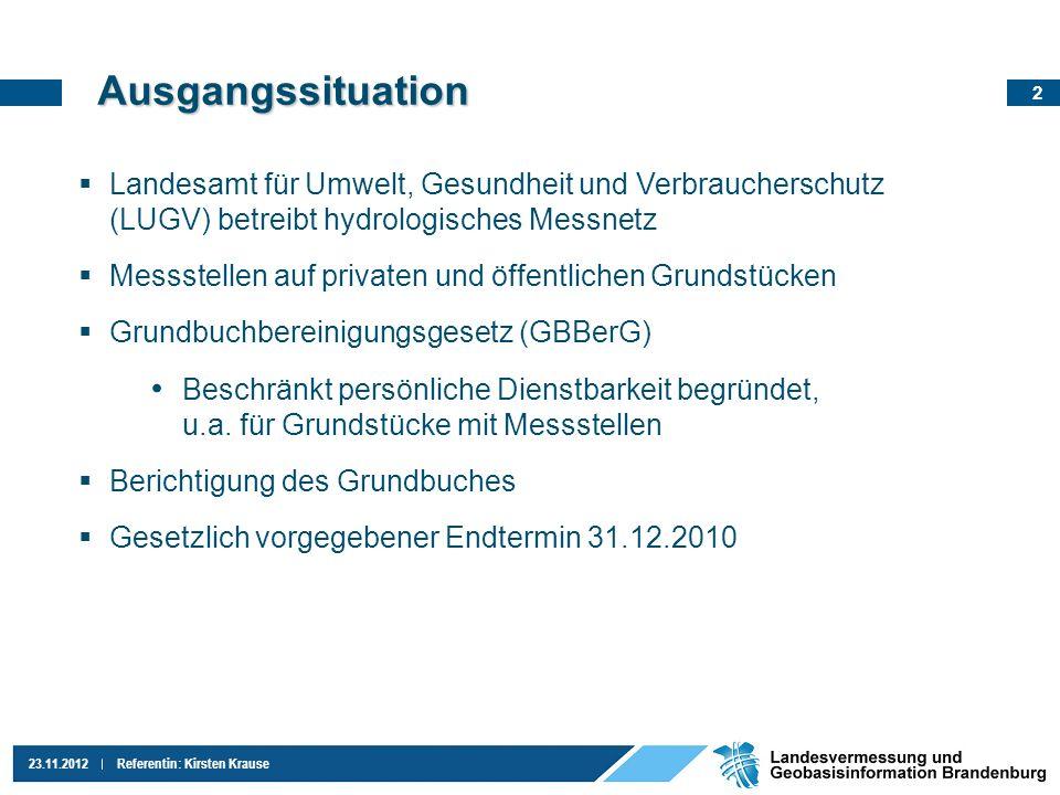 2 23.11.2012Referentin: Kirsten Krause Landesamt für Umwelt, Gesundheit und Verbraucherschutz (LUGV) betreibt hydrologisches Messnetz Messstellen auf