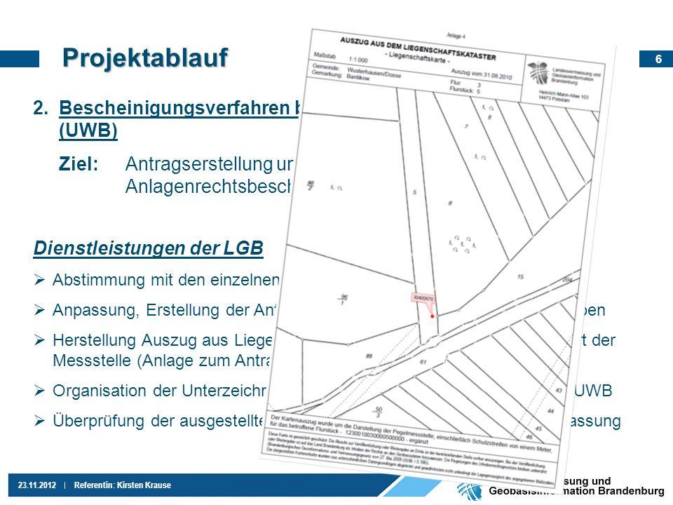 6 23.11.2012Referentin: Kirsten Krause 2.Bescheinigungsverfahren bei den Unteren Wasserbehörden (UWB) Ziel:Antragserstellung und Abgabe, Erhalt der Le