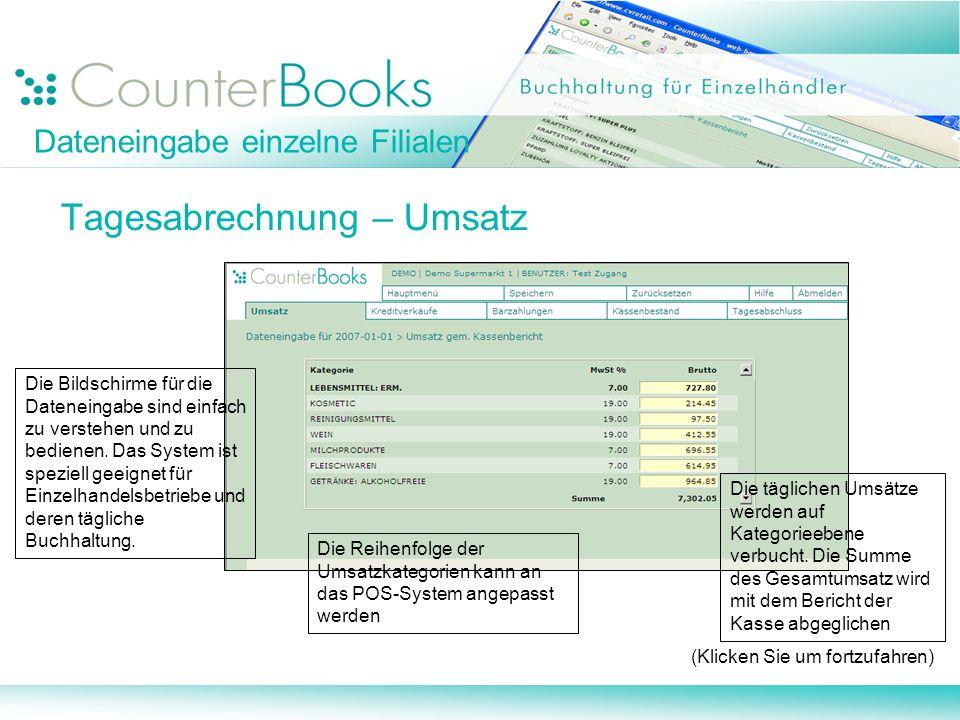 Dateneingabe einzelne Filialen Tagesabrechnung – Umsatz (Klicken Sie um fortzufahren) Die Bildschirme für die Dateneingabe sind einfach zu verstehen u