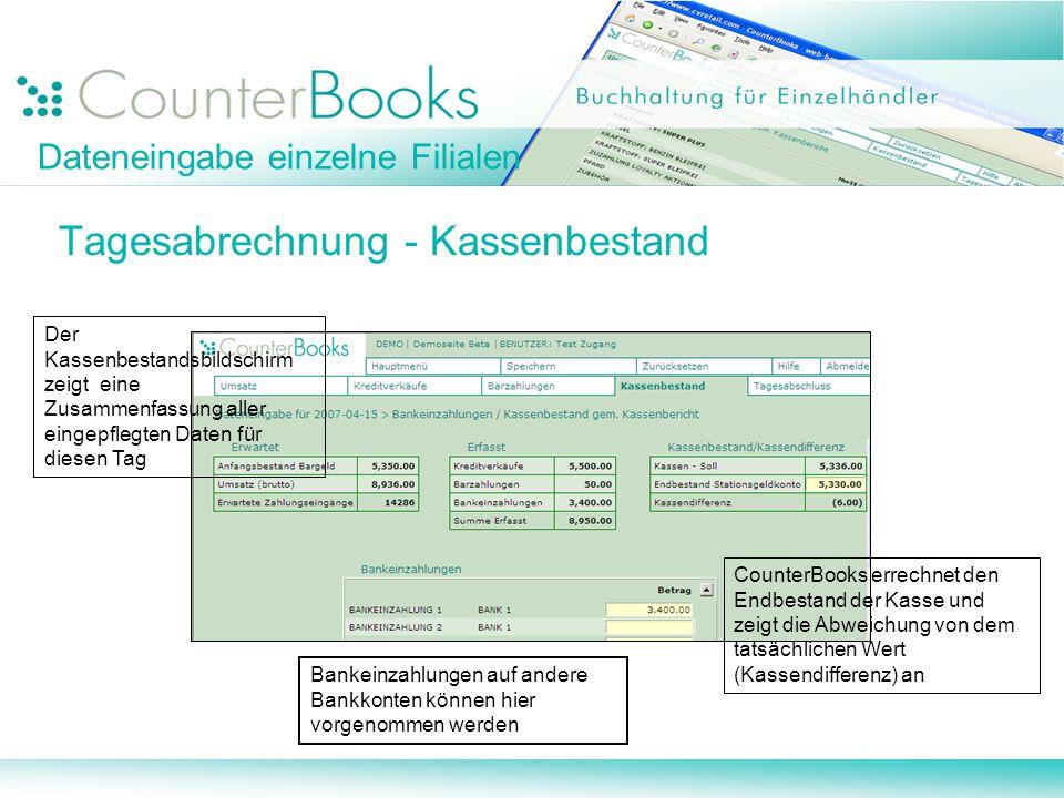 Dateneingabe einzelne Filialen Tagesabrechnung - Kassenbestand Bankeinzahlungen auf andere Bankkonten können hier vorgenommen werden CounterBooks erre