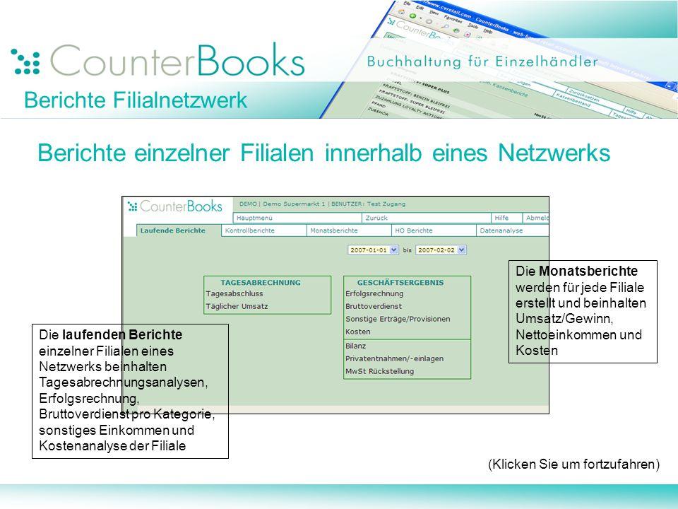 Berichte Filialnetzwerk Berichte einzelner Filialen innerhalb eines Netzwerks (Klicken Sie um fortzufahren) Die laufenden Berichte einzelner Filialen