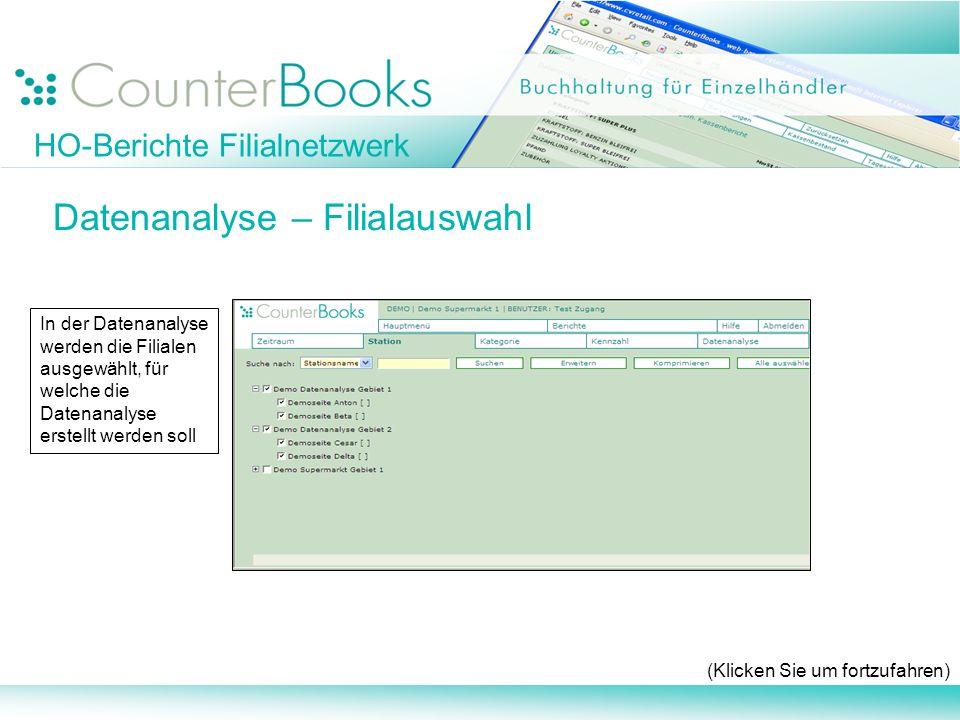 Datenanalyse – Filialauswahl (Klicken Sie um fortzufahren) In der Datenanalyse werden die Filialen ausgewählt, für welche die Datenanalyse erstellt we