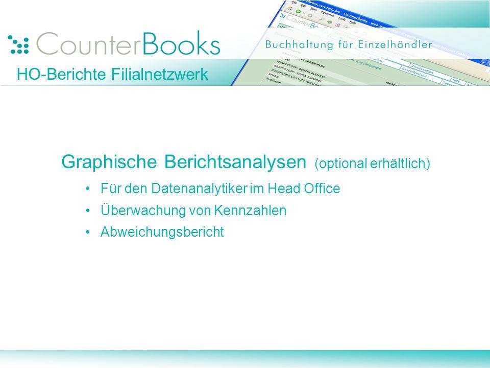 Graphische Berichtsanalysen (optional erhältlich) Für den Datenanalytiker im Head Office Überwachung von Kennzahlen Abweichungsbericht HO-Berichte Fil