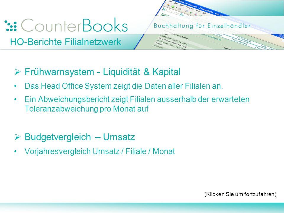 Frühwarnsystem - Liquidität & Kapital Das Head Office System zeigt die Daten aller Filialen an. Ein Abweichungsbericht zeigt Filialen ausserhalb der e