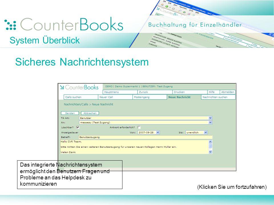 System Überblick Sicheres Nachrichtensystem (Klicken Sie um fortzufahren) Das integrierte Nachrichtensystem ermöglicht den Benutzern Fragen und Proble