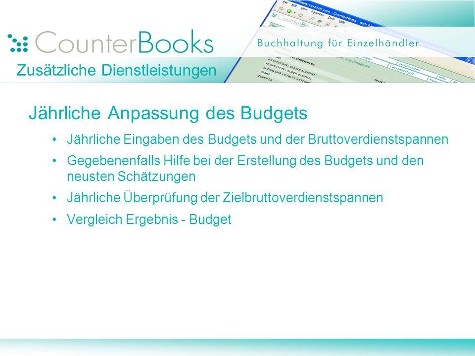 Zusätzliche Dienstleistungen Jährliche Anpassung des Budgets Jährliche Eingaben des Budgets und der Bruttoverdienstspannen Gegebenenfalls Hilfe bei de