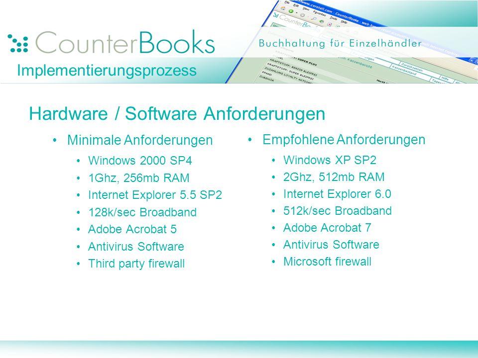 Hardware / Software Anforderungen Minimale Anforderungen Windows 2000 SP4 1Ghz, 256mb RAM Internet Explorer 5.5 SP2 128k/sec Broadband Adobe Acrobat 5