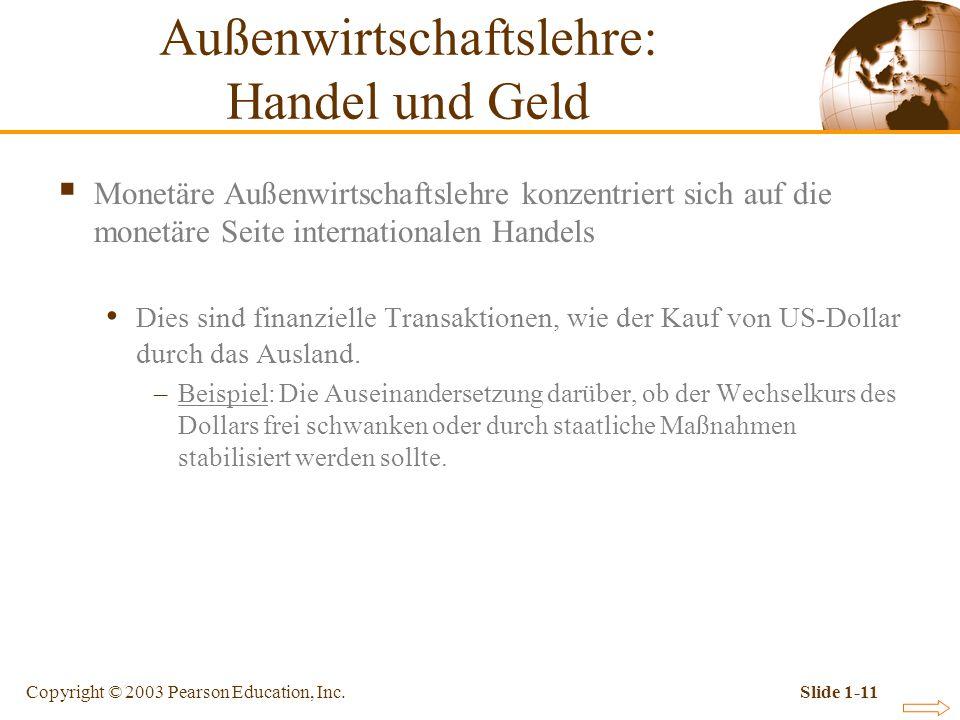 Copyright © 2003 Pearson Education, Inc.Slide 1-11 Monetäre Außenwirtschaftslehre konzentriert sich auf die monetäre Seite internationalen Handels Die